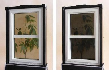 A sinistra il vetro fotocromatico trasparente, a destra il vetro opaco dopo l'attivazione