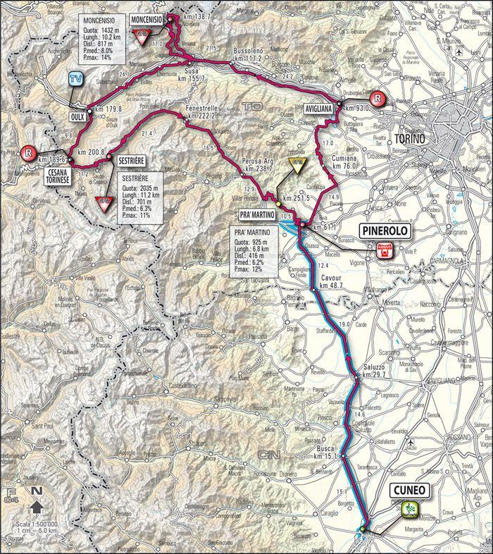 Allegato 3 (Vita N° 10, Giro Gavinelli - FIGURA 3) Planimetria della storica Tappa alpina, la Cuneo-Pinerolo