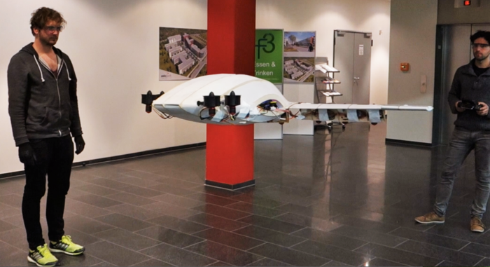 A lab test with a small-scale model to verify the vertical takeoff and landing of the electric aircraft under development by ESA BIC Bavaria start-up Lilium. (sorce: ESA)