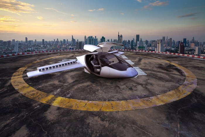 The electric aircraft under development by ESA BIC Bavaria start-up Lilium needs only an open flat area of about 15x15 m for vertical takeoff and landing. The environmentally friendly aircraft is planned to be available from 2018. (sorce: ESA)