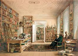 Alexander von Humboldt in seiner BIbliothek watercolor drawing by Eduard Hildebrant, 1856 (Berlin: Storch & Kramer)