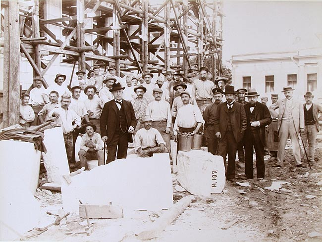Yu.S.Nechaev-Maltsov between the Italian marble during the construction of the Museum June 2, 1901 Photo K.A.Fishera.
