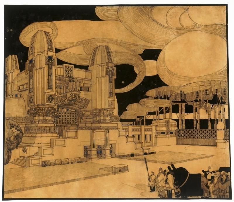 Uno dei più noti disegni santeliani del proprio periodo liberty-secessionistico (di marca soprattutto otto-wagneriana), il Prospetto del Cimitero per Monza eseguito nel 1911