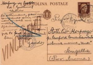 Una cartolina inviata da Gaddo al padre Attilio da Urbino.
