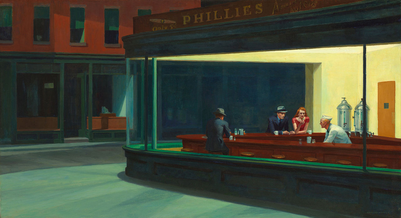 """Nighthawks"" by Edward Hopper, 1942. (Public domain) Few artists have captured the essence of America's industrial urbanism with the precision of Edward Hopper (1882-1967)."